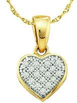 DazzlingRock Collection 0.05 Carat (ctw) 10k Yellow Gold Round White Diamond Ladies Heart Pendant