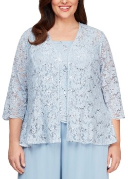 Alex Evenings Plus Size Lace Jacket & Top Set