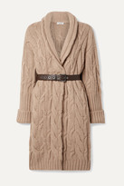 Brunello Cucinelli Oversized Belted Cable-knit Cashmere Cardigan - Camel