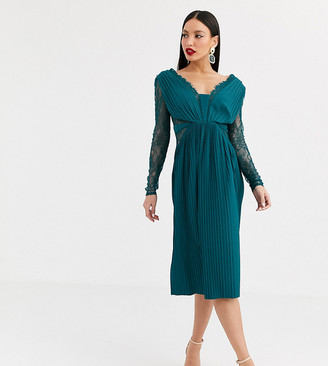 Asos Tall ASOS DESIGN Tall lace and pleat long sleeve midi dress in teal green