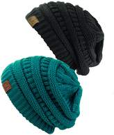 NYFASHION101 Unisex Trendy Warm Chunky Soft Stretch Cable Knit Slouchy Beanie Skully