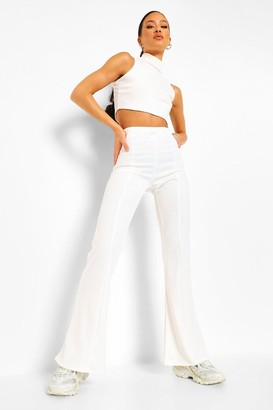boohoo Tight Stretch Crepe Piping Detail Flare