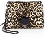 Jimmy Choo Lockett Petite Leopard-Print Calf Hair Chain Shoulder Bag