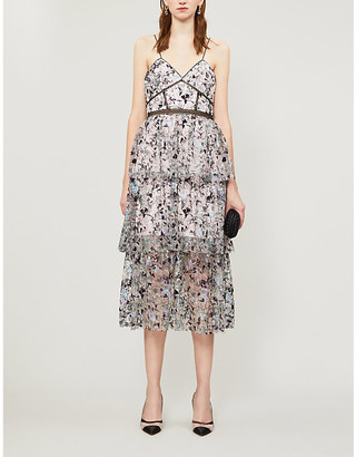 Self-Portrait Constellation embellished and mesh midi dress