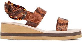 Ancient Greek Sandals Clio Snake-effect Leather Wedge Sandals
