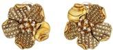 Oscar de la Renta Pave and Dotted Petal C Earrings