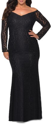 La Femme Sparkle Lace Long Sleeve Off the Shoulder Gown