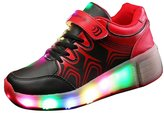 iLory Kids LED Light Roller Skate Shoes with Wheels Flashing Sneakers Single Wheel Luminous Heelys