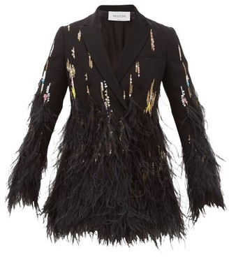 Valentino Double-breasted Feather-trimmed Crepe Jacket - Black Multi