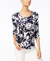 JM Collection Petite Floral-Print Shirttail Top, Only at Macy's