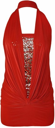 MIXLOT New Womens Ladies Sexy Sequin Halter Neck Ruched Boob Tube Stretch Sleeveless Party top (Cream 8-10)