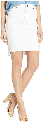 KUT from the Kloth Connie Step Hem Skirt w/ Front Seam in Optic White