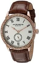 Akribos XXIV Men's AK867RG Round White Dial Two Hand Quartz Strap Watch