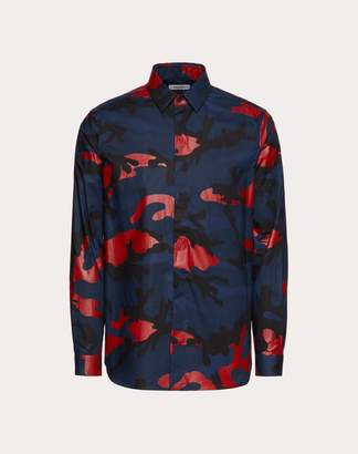 Valentino Camouflage Shirt Man Navy/ Red 100% Cotone 40