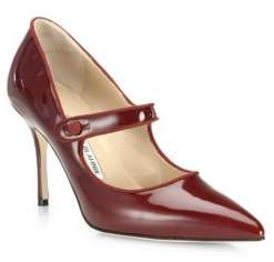 Manolo Blahnik Campari Patent Leather Mary Jane Pumps