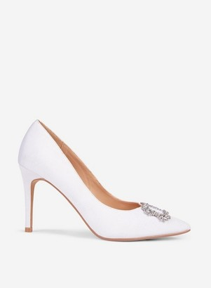Dorothy Perkins Womens **Showcase White 'Glad' Square Jewel Court Shoes, White