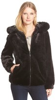 Gallery Women's Grooved Faux Fur Hooded Jacket