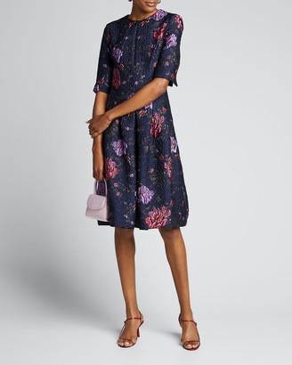 Rickie Freeman For Teri Jon Metallic Floral Jacquard Elbow-Sleeve A-Line Dress