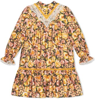 Gucci Kids Rose And Rabbit-Print Dress