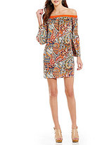 Gibson & Latimer Off-The-Shoulder Flare Sleeve Paisley Print Dress