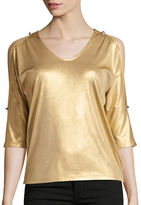 I.N.C International Concepts Petite Metallic V-Neck Cold Shoulder Top