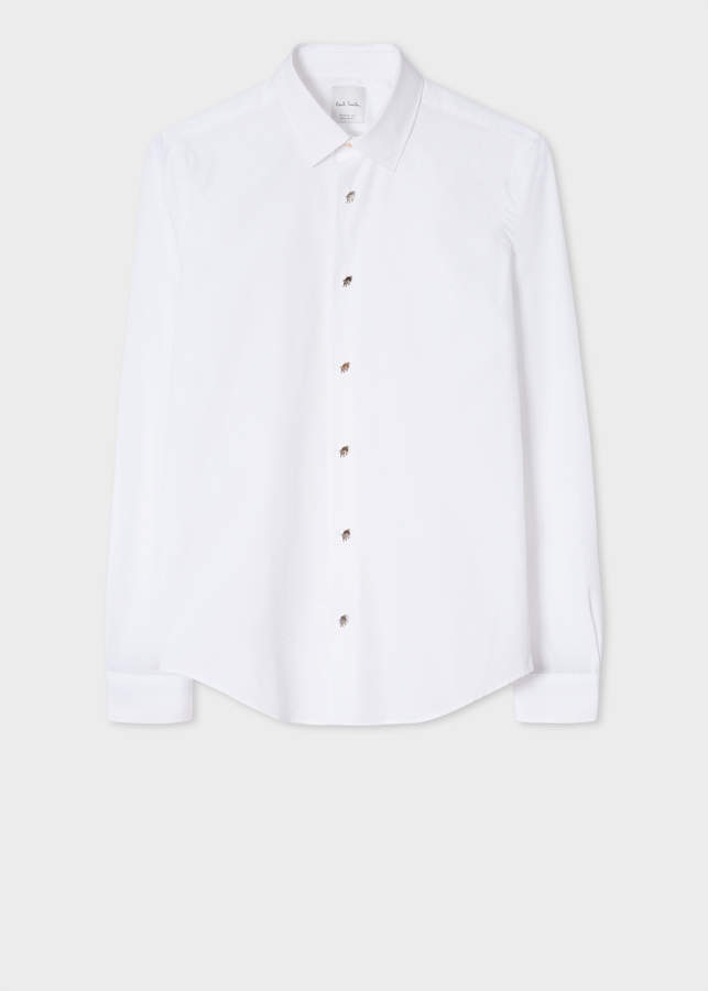 Paul Smith Men's Super Slim-Fit White Shirt With 'Artist Stripe' Cuffs And Pig Charm Button Placket