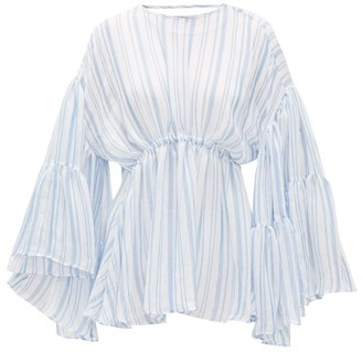 Romance Was Born Louis Stripe-print Voile Blouse - Womens - Blue White