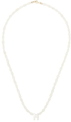 Roxanne First 14K white gold H initial pearl necklace