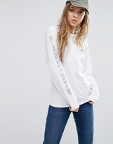 Vans Oversized Long Sleeve T-Shirt In White With Arm Logo
