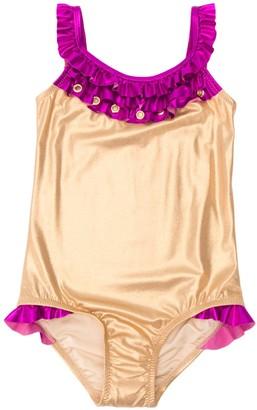 Nessi Byrd Kids ruffled neckline swimsuit