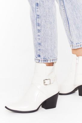 Nasty Gal Womens Don't Buckle Under Pressure Faux Leather Boots - White