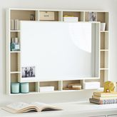 Pinboard Display Shelf Framed Mirror, Simply White
