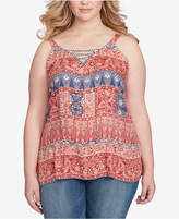 Jessica Simpson Trendy Plus Size Ceri Printed Lace-Up Tunic
