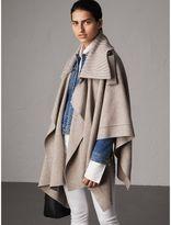 Burberry Rib Knit Collar Wool Cashmere Blend Poncho, Brown
