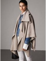 Burberry Rib Knit Collar Wool Cashmere Blend Poncho