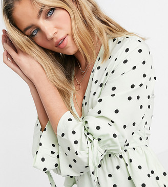 Wednesday's Girl tea blouse with tie cuffs in scattered spot