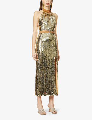 HARMUR The Goddess sequin-embellished silk-blend midi dress