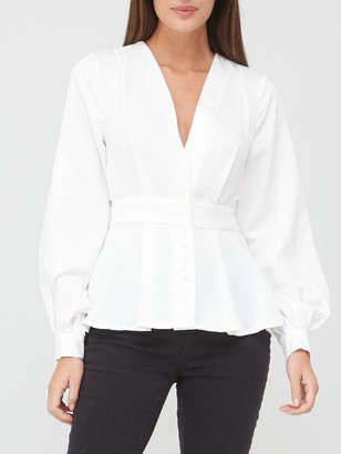 Very Button Through Back Detail Blouse - Ivory
