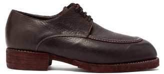 Guidi Bison Grained-leather Derby Shoes - Dark Brown