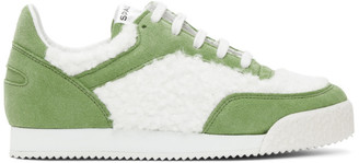 Comme des Garçons Shirt Green and White Spalwart Edition Pitch Low Sneakers