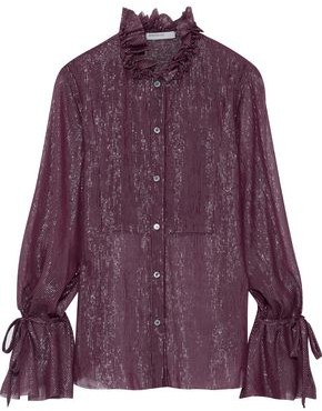 Stateside Ruffled-trimmed Metallic Striped Silk-blend Georgette Blouse