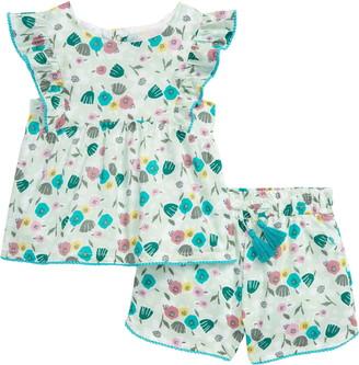 Peek Aren't You Curious Sofia Matisse Floral Print Flutter Sleeve Top & Shorts Set