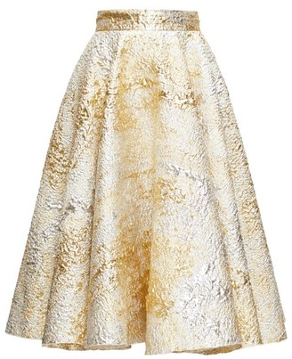 Dolce & Gabbana High-rise Metallic-cloque Midi Skirt - Womens - Gold Multi