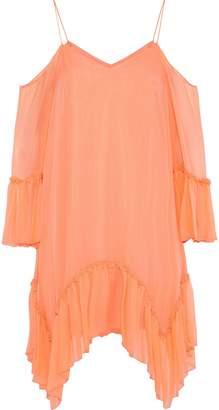 Alice + Olivia Ilaria Cold-shoulder Silk-georgette Mini Dress