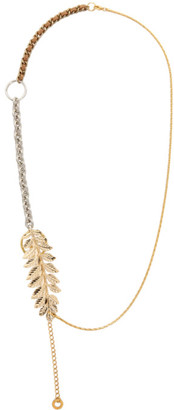Bless Gold and Silver Feather Materialmix Necklace