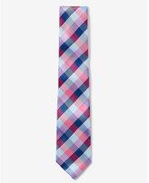Express Mens Checked Narrow Silk Tie Pink