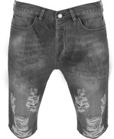 Religion Slashed Denim Shorts Grey