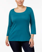 Charter Club Plus Size Cotton Scoop-Neck Top, Only at Macy's