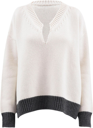 Marni Oversized Split-Neck Wool Sweater