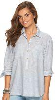 Chaps Petite Striped Linen Blend Shirt